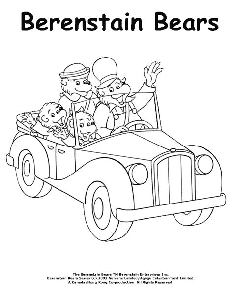 Coloring Activity Pages The Berenstain Bears Riding In Berenstain Bears Coloring Page
