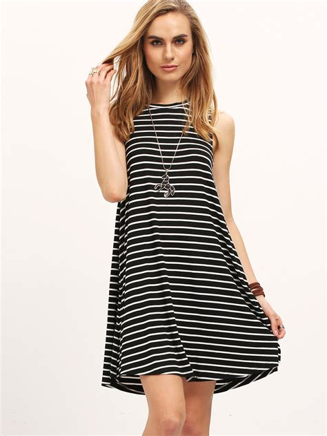 black white striped sleeveless dressfor romwe