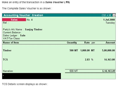 tcs tax collected at source sales vouchers in tally erp 9
