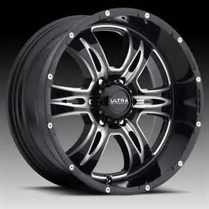 Ultra Black Truck Wheels Ultra 249 Predator Ii Gloss Black Milled Custom Wheels