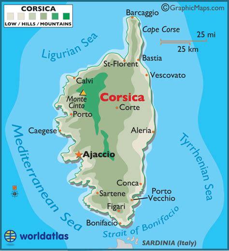 corsica map corsica large color map