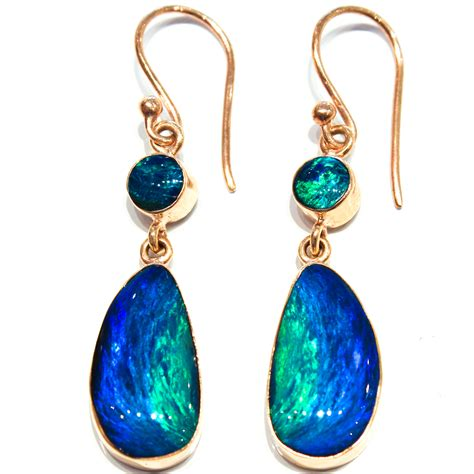 Australian Handmade Jewellery - australian opal handmade gold earrings part of exclusive