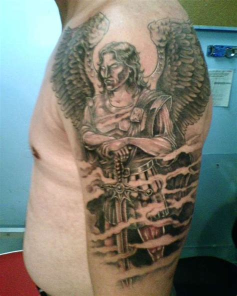 st michael sleeve tattoo designs michael michael slaying the