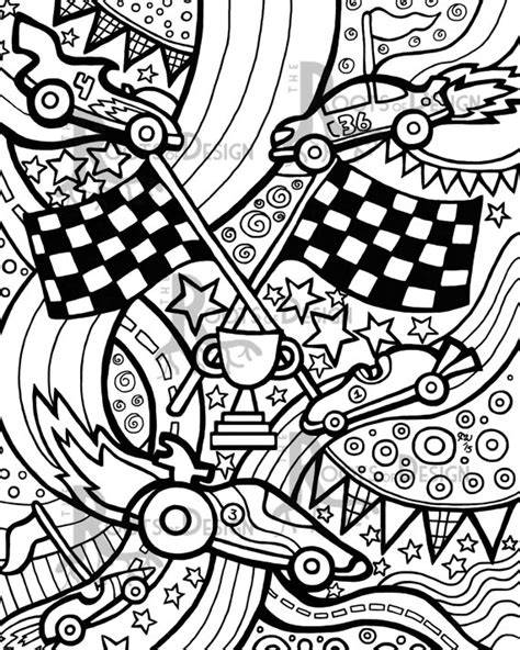 doodle racer instant coloring page race cars zentangle inspired