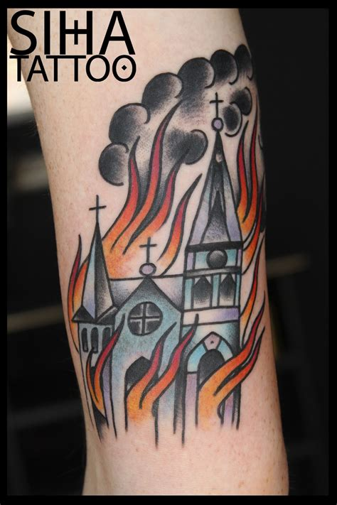 tattoo burning church burning in flames tradi by hugo at