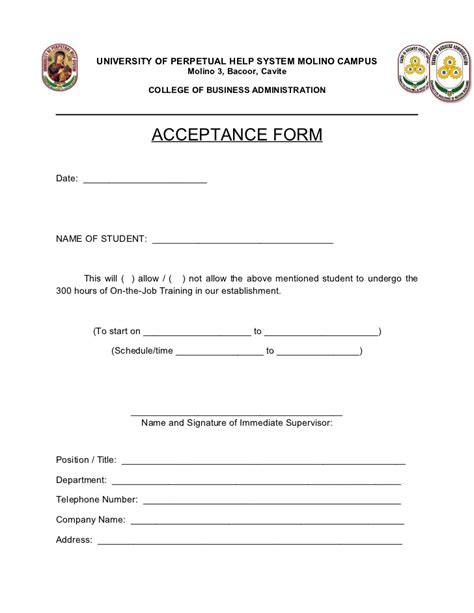 Acceptance Letter For Trainee Ojt Acceptance Form