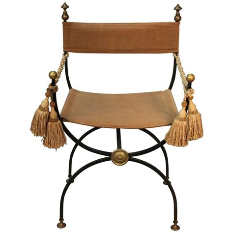 Savonarola Chair by Savonarola Chair Iron With Brass Finials For Sale At 1stdibs