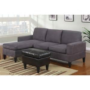 poundex 3 pc grey microfiber apartment size sectional sofa
