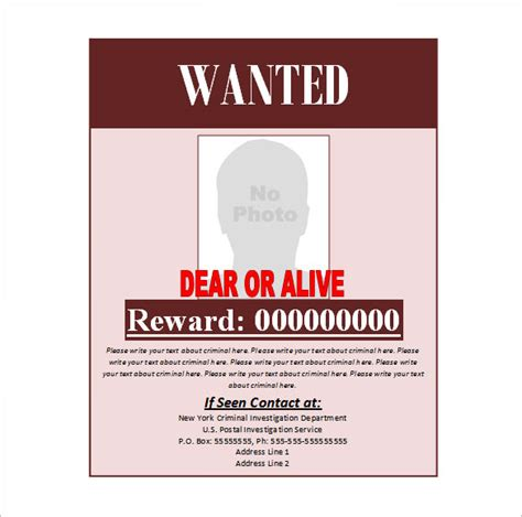 wanted poster template 53 free printable word psd
