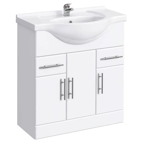 Gloss White Vanity Unit by Alaska High Gloss White Vanity Unit With Ceramic Basin