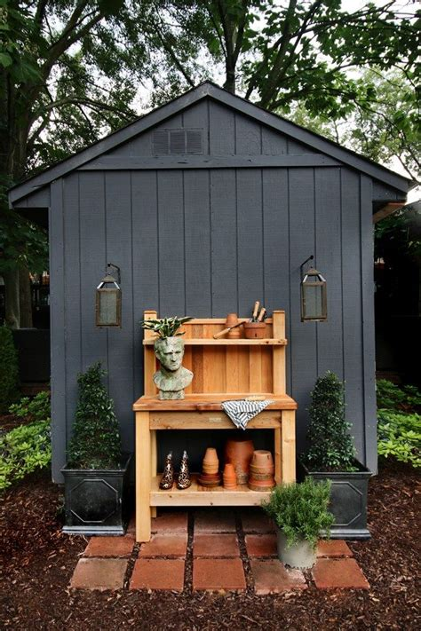 black garden shed  cedar potting bench shed decor
