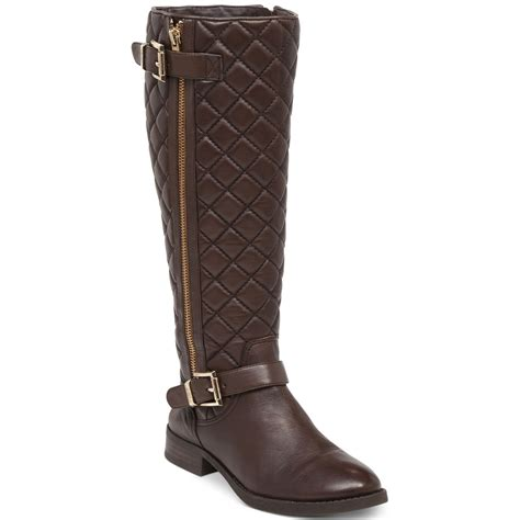 Vince Camuto Quilted Boots by Vince Camuto Fredrica Wide Calf Quilted Brown Leather