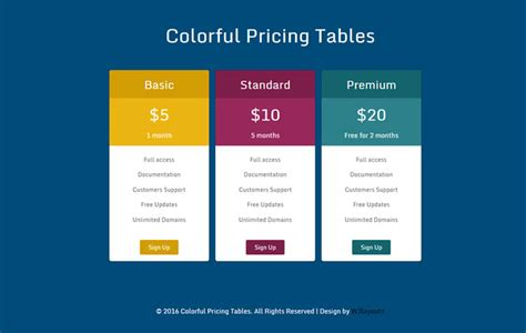 html table template 34 best html css pricing table free premium templates