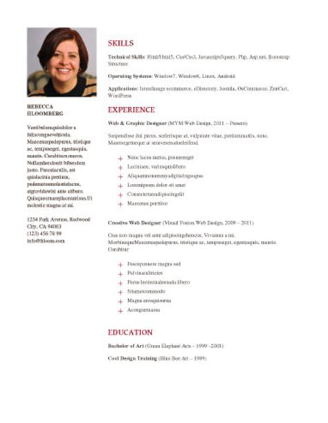 Resume Templates With Photo by Resume Template With Photo Learnhowtoloseweight Net