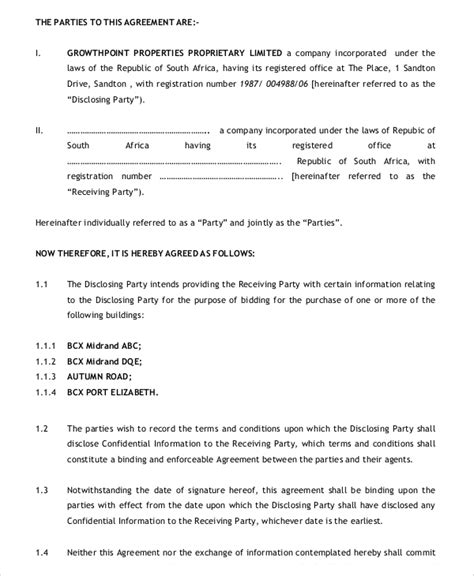 Business Confidentiality Agreement Sle Teacheng Us Sle Financial Plan Template