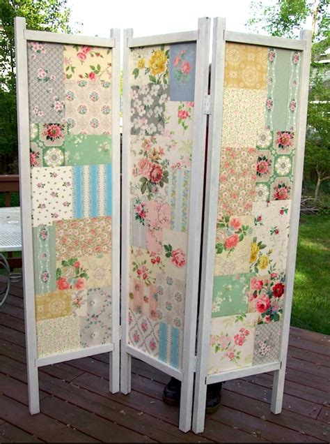 patchwork diy folding screen mod podge rocks