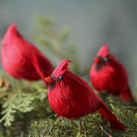feathered red cardinal xmas ornament small artificial cardinal ornaments and winter crafts