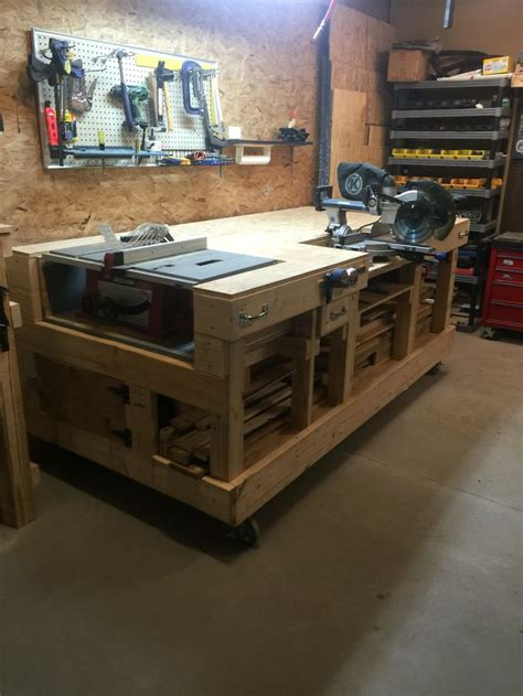 garage work table saw table work bench created storage cabinet on side for