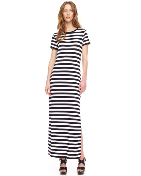 Maxy Stripe michael kors striped maxi dress in white lyst