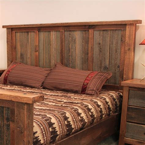 rustic reclaimed barn wood headboard