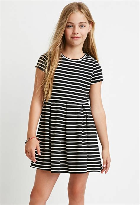 girls ribbed stripe dress kids   girls