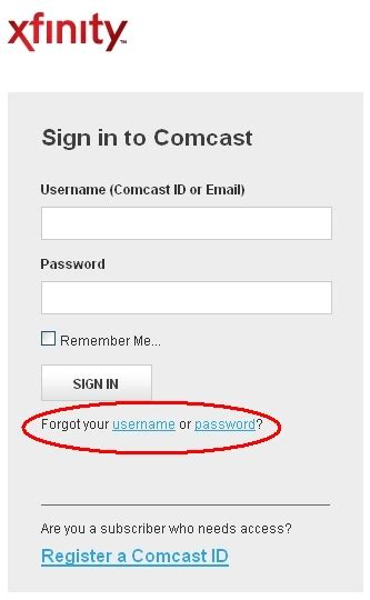 xfinity username and password