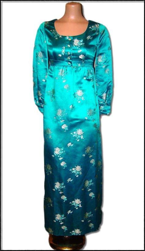 vintage 1970 s peacock blue satin geisha gown brocade
