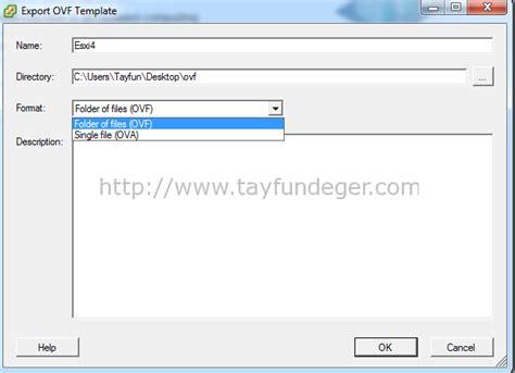 ovf template vmware vsphere esx esxi export işlemi vmware