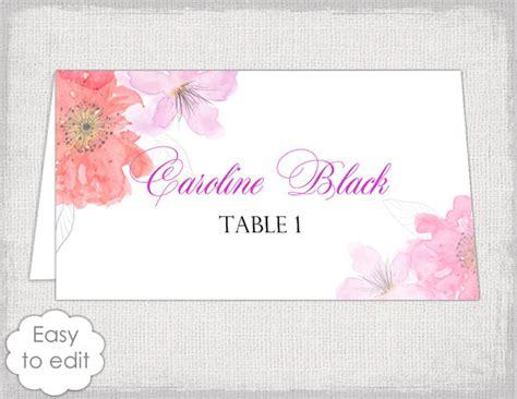 place card template flower garden tent  cards