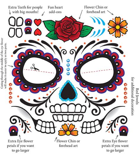 sugar skull temporary tattoo day of the dead make up sugar skull tempoary