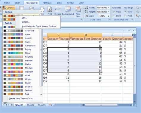 excel themes and styles theme exles xlsx edit a custom color theme theme color 171