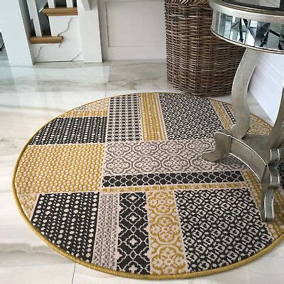 yellow patchwork circle dining room rugs small large ochre