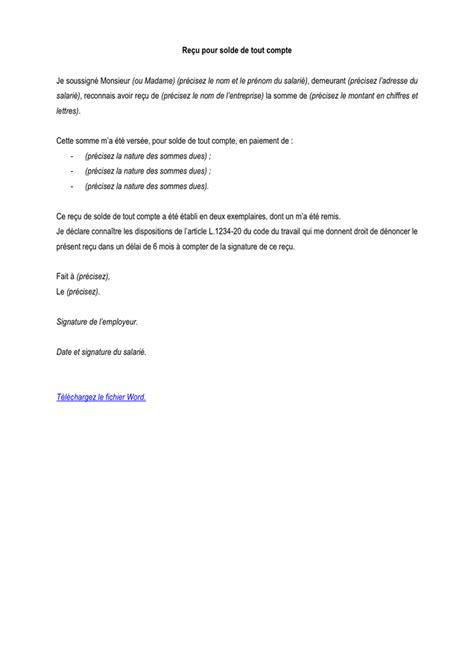 Exemple De Lettre Solde Tout Compte Model 233 De Re 231 U Pour Solde De Tout Compte Doc Pdf Page
