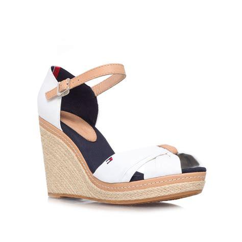 wedges ad 24 hilfiger emery 54d high wedge heel sandals in blue