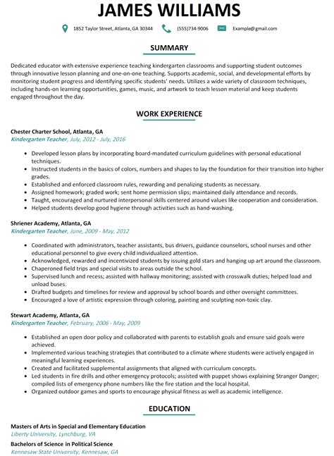 free free sample resume kindergarten teacher kindergarten teacher