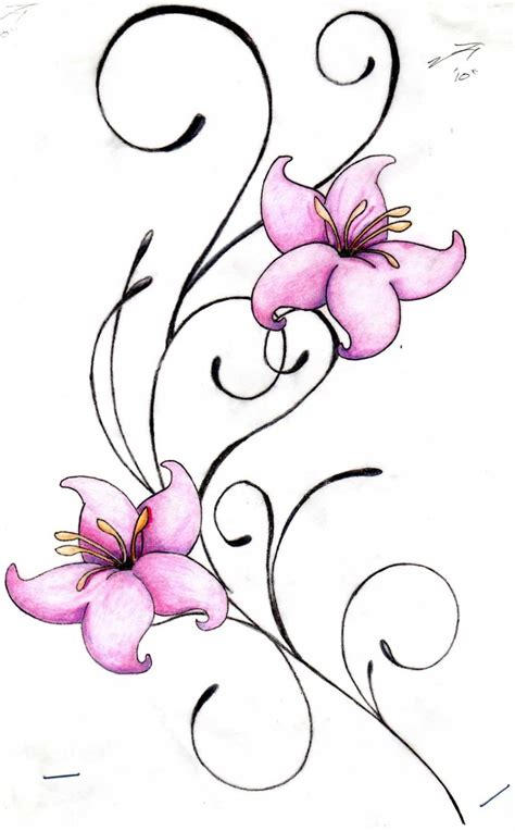 lily swirl tattoo designs flower tattoos