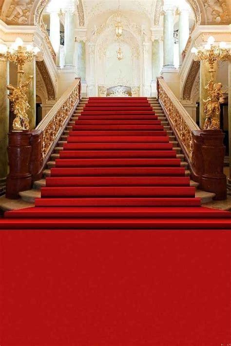 gladsbuy escaleras cubierto alfombra roja en salon