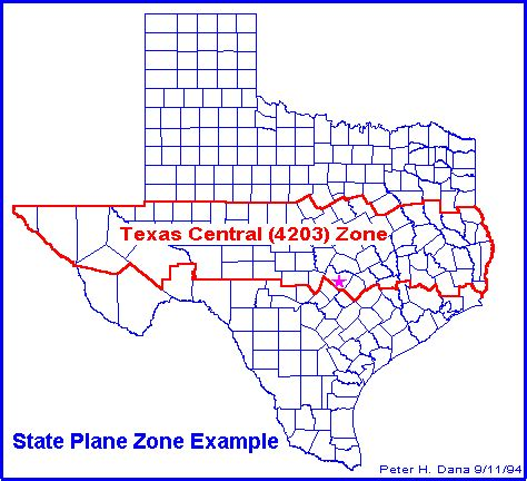 texas state plane coordinate system map geography 416a computer cartography