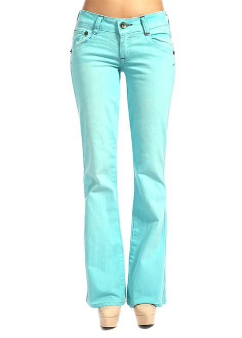 8 Pairs Of Colored Denim For by Marlow Womens Color Denim Bootcut Turquoise Low