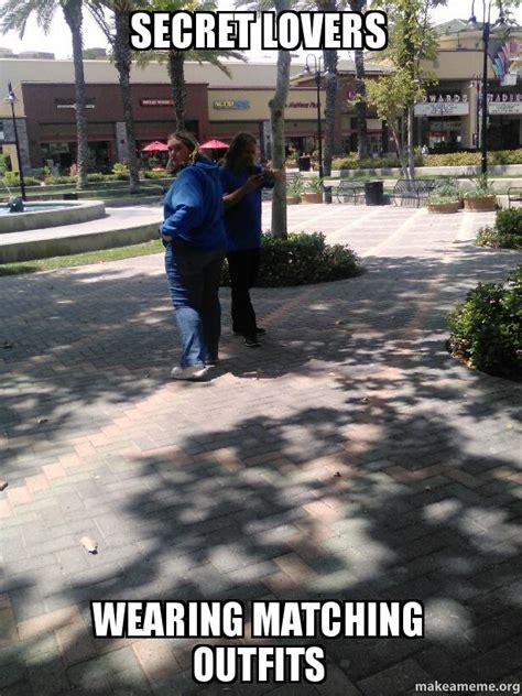 Lovers Meme - secret lovers wearing matching outfits make a meme