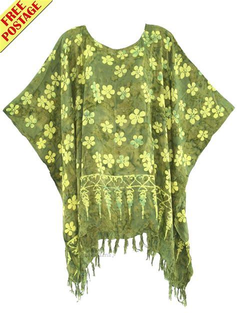 Kaftan Batik 24 green batik caftan kaftan tunic top blouse 1x
