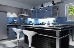 This ultra modern kitchen is awash in blue and silver tones anchored