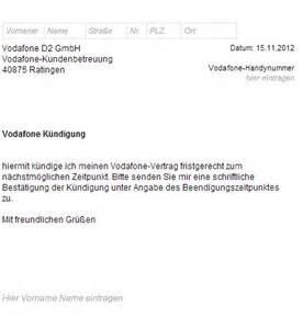 Vodafone Anschreiben Adrebe Vodafone K 252 Ndigungsschreiben Vorlage Muster K 252 Ndigung