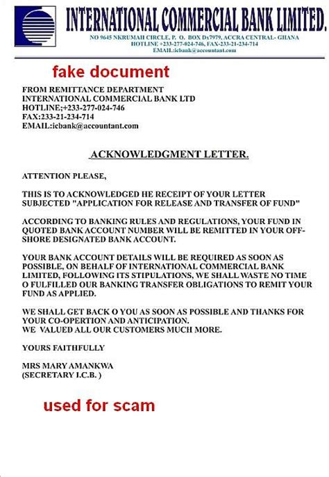 Acknowledgement Letter To Bank Directory Listing
