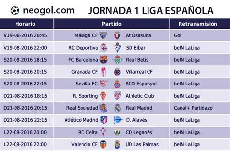 Calendario Y Horarios Liga Santander Jornada 1 Liga Espa 241 Ola 2016 Laliga Santander