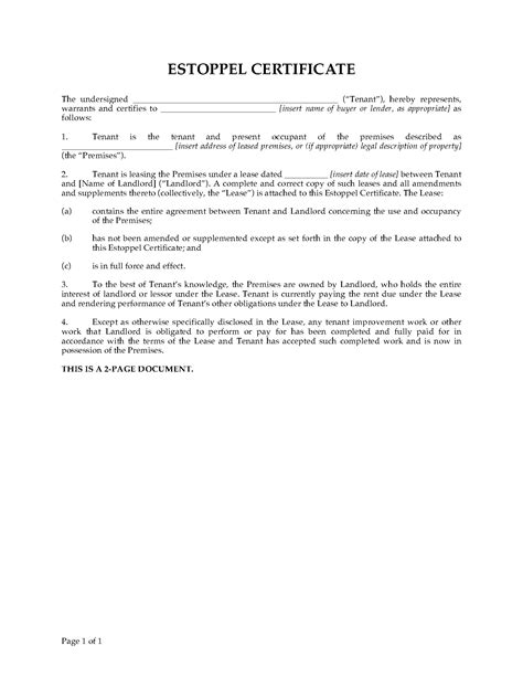 usa commercial tenant estoppel certificate legal forms
