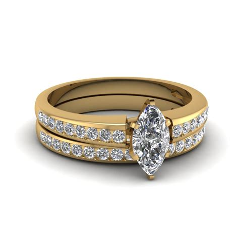 marquise channel wedding set in 14k yellow gold