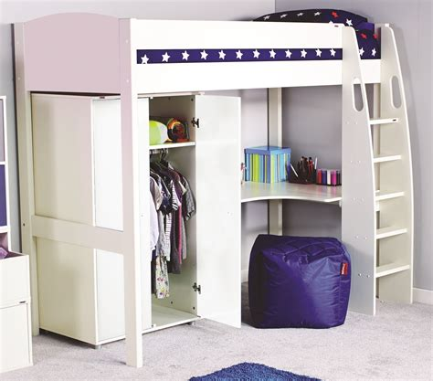 high sleeper with wardrobe and futon stompa uno s highsleeper with wardrobe rainbow wood