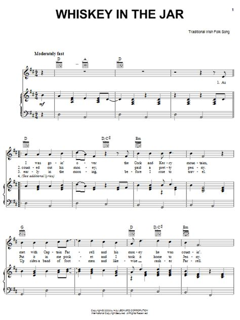 metallica whisky in the jar lyrics whiskey in the jar sheet music by irish folksong piano