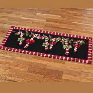 candy cane garland holiday rug runner